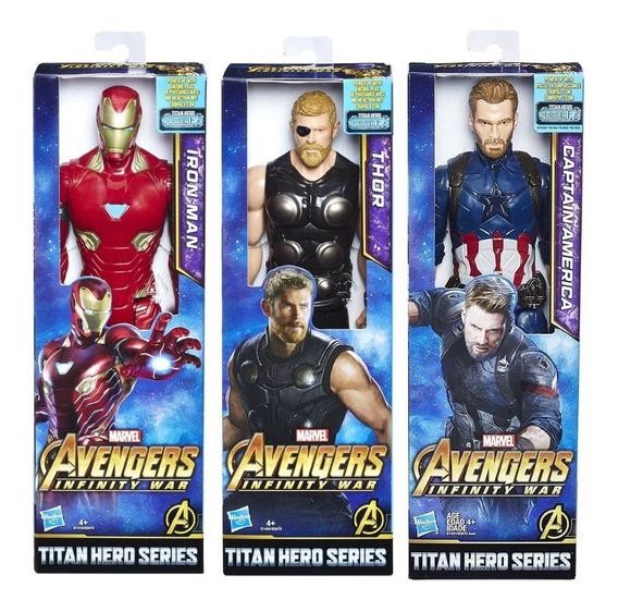 Pack 3 Titan Hero Iron Man Capitán América Y Thor Avengers
