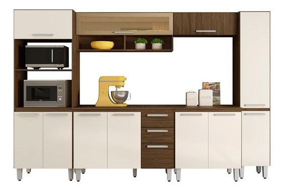 Cozinha Modulada Niterói 6 Módulos Composição 1 Castanho/bau