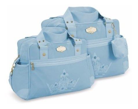 Kit Bolsas Bebê Com Porta Chupeta Cor Azul