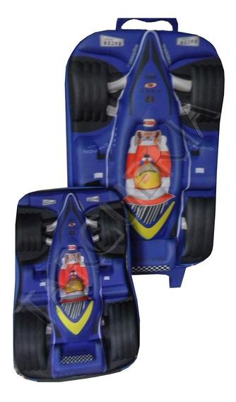 Kit Mochila Lancheira Estojo Carro Piloto Formula 1 Infantil