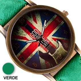 Relógio Vintage Bandeira Inglaterra Pulseira Tecido Verde
