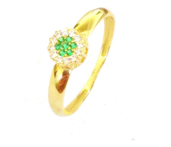 Anel De Ouro Maciço 18 K Chuveiro De Pedras Verdes F01 Vj