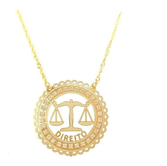 Colar Pingente Medalha Stras Profissão Direito Folheado Ouro