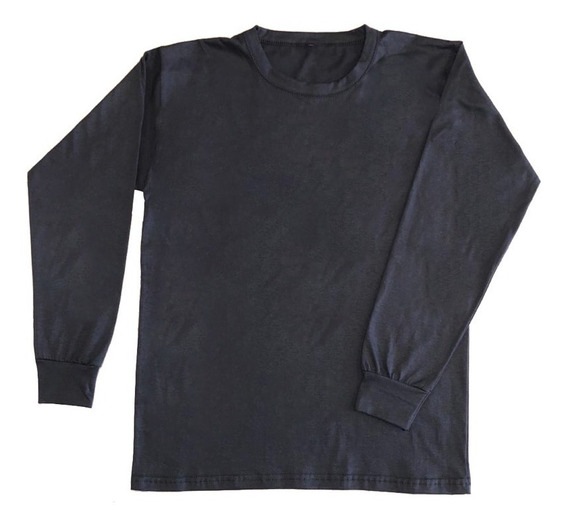 Remera Lisa Camiseta Manga Larga Cuello Redondo 100% Algodón