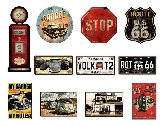 Kit 11 Placas Decorativas Garagem Mecanica + Carro + Stop