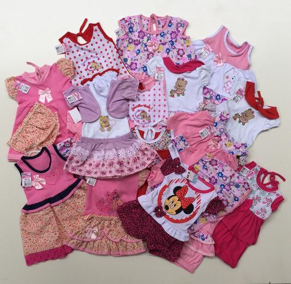 Kit 5 Conjuntos Femininos Infantil Bebê 2-6 Meses Veste P-m
