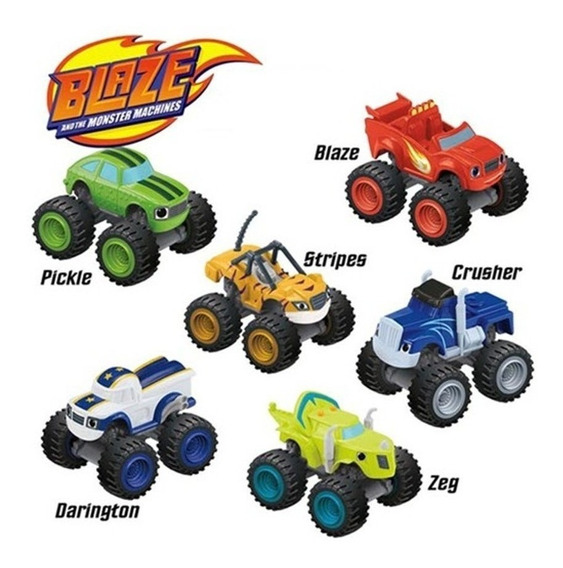 Kit Blaze Monster Machines 6 Carrinhos Fricção