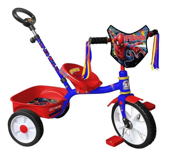 Triciclo Apache Spiderman Rodada12 Cajuela Y Baston