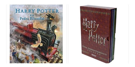 Livro Harry Potter E A Pedra Filosofal Ilustrado + Box Guia