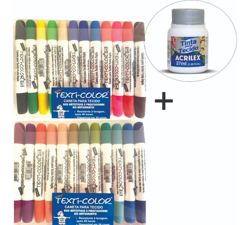 Imagem 1 de 6 de Kit Magic Color   C 24 Caneta Tecido Texti  Ponta Dupla