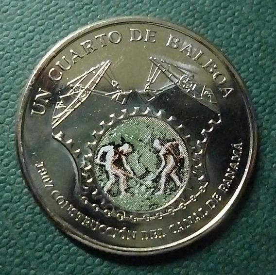 Panama Moneda Esmaltada ¼ Balboa Unc 2016 Construcción Canal