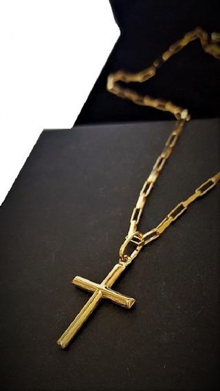 Cordão De Ouro 18k Masculino Com Ping Crucifixo 60cm