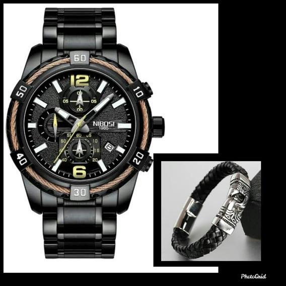 Relógio Nibosi 2335 Esportivo + Pulseira De Couro 20,50cm