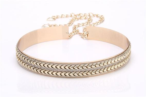 Cinturón Dorado Metal Espejo Labrado Con Cristales.