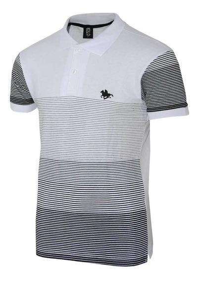 Camisa Com Estampa Listrada E Logo Bordado