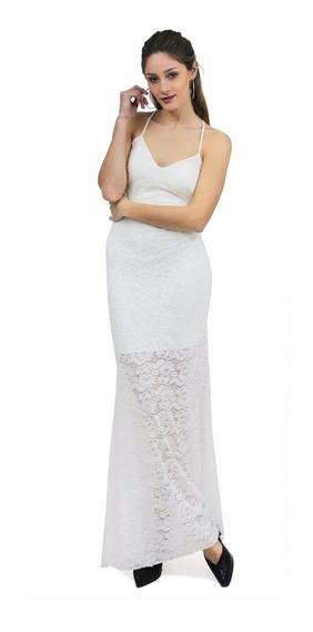 Vestido Clara, Encaje, Fiesta, Escote Brishka V-0070