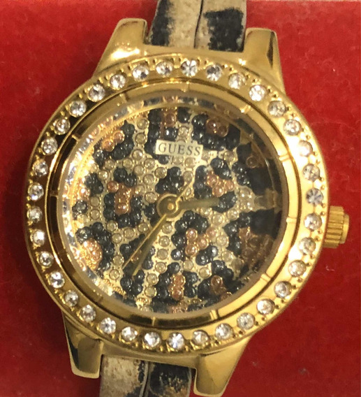 Relógio Feminino Guess | C/ Brilhantes Pulseira De Oncinha