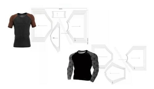 Kit 2 Moldes Modelagem Camiseta Rash Guard Manga Curta/longa
