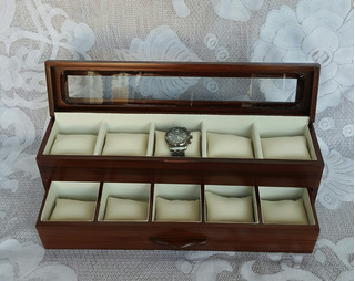 Caja Portarelojes Premium Para 10 Relojes