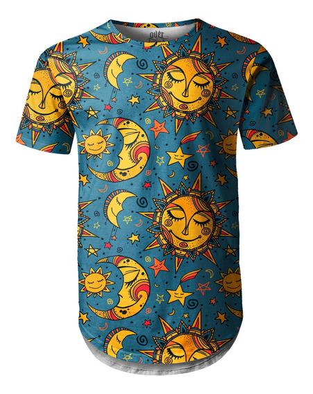 Camiseta Masculina Longline Swag Sol E Lua