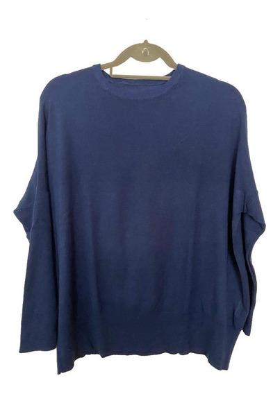 Sweater Pullover Importado Azul Amplio Mangas Ajustadas Boho