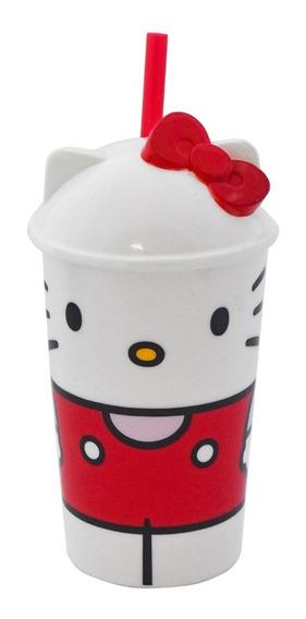 Vaso Con Popote 3d Plastico Hello Kitty Sanrio 400ml
