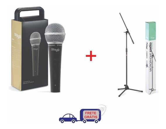 Microfone Dinâmico Stagg Sdm50 Cabo Xlr 5m + Pedestal Stagg