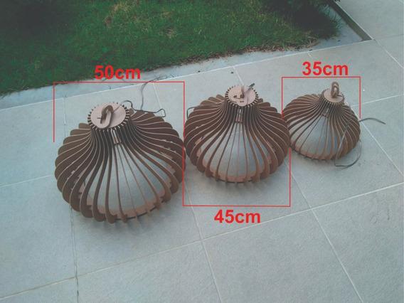 Kit Com 1 Luminária Lustre Pendente Rústico 35cm E Uma 45cm