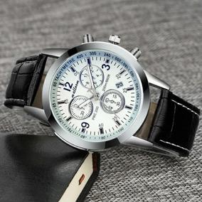 Relógio Masculino Luxury Fashion Pulseira De Couro Sintético