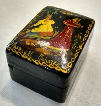 Porta Jóias Antigo Em Madeira. Pintado A Mão.