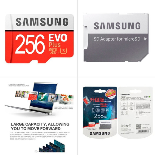 Memoria Samsung Evo Plus 256gb Microsd C10 U3 4k 100mb/s