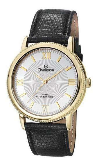 Relógio Masculino Dourado Champion Pulseira Couro Original