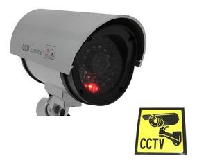 Camara De Seguridad Falsa Con Led Movimiento + Cartel