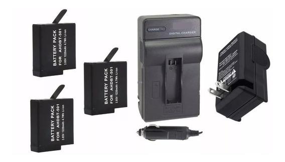 Kit 3 Baterias + 1 Carregador P Câmera Gopro Hero 6 Session