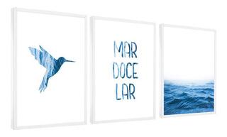 Quadros Decorativos Frase Mar Doce Lar Pássaro Tons Azul