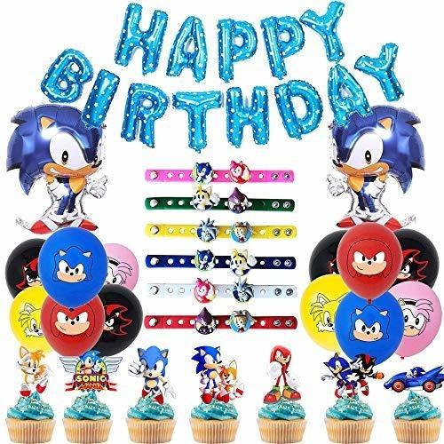 Imagen 1 de 6 de 76 Paquetes De Decoraciones De Cumpleaños De Sonic Hedgehog