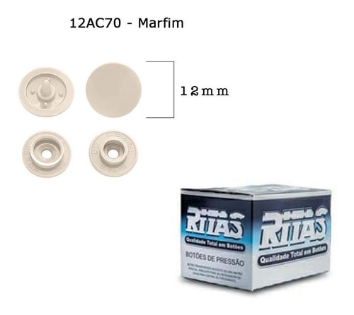Botão De Pressão Plastico Ritas,com 200 Botões Nº 12 Marfim