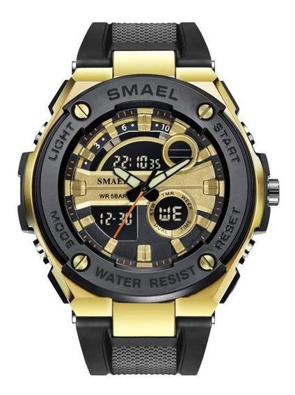 Relógio Smael 1625 Dourado Prova D