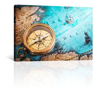 Cuadro Decorativo Canvas Mapas Del Mundo Con Brujula Antigua