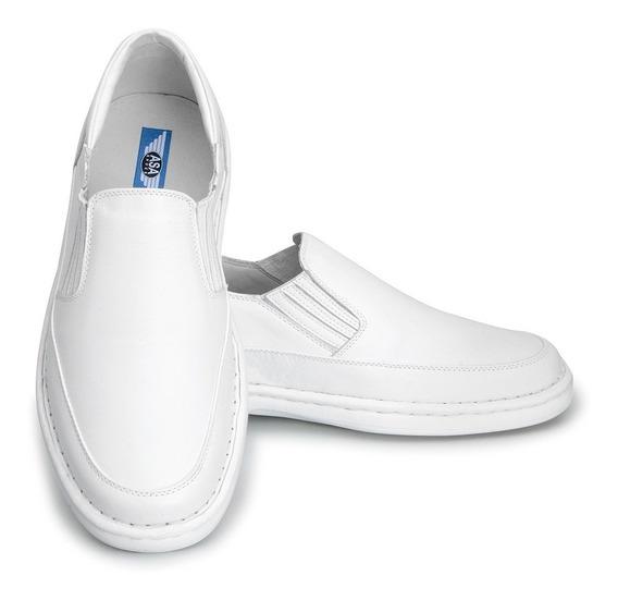 Sapato Branco Masculino P/ Médico Em Couro Com Palmilha Gel