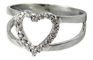 Anel Em Prata 950 Coração Com Zircônias Florenzza Jóias