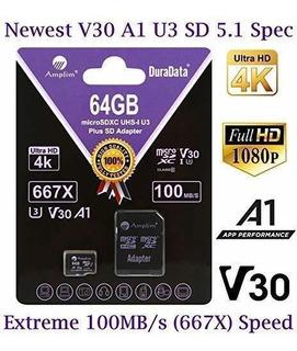 64gb Micro Sd Card Plus Sd Adapter Amplim Sdxc Microsdxc
