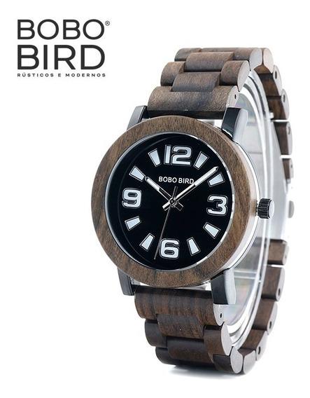 Relógio Masculino Bobo Bird Em Madeira