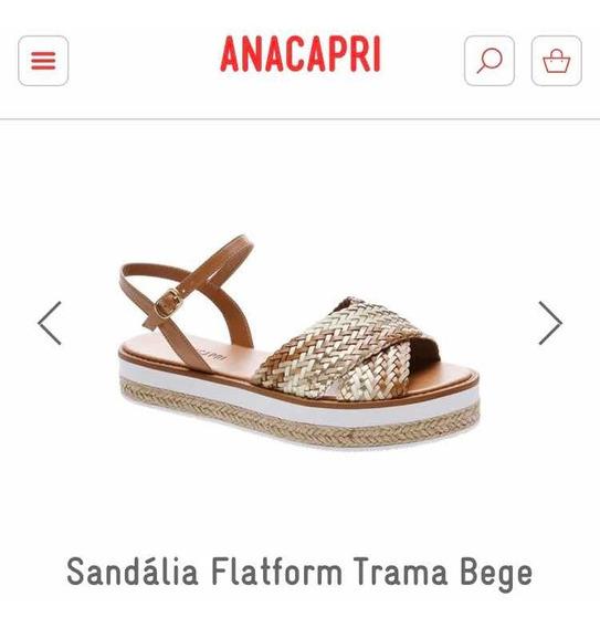 Sandália Flatform Trama Bege E Dourado