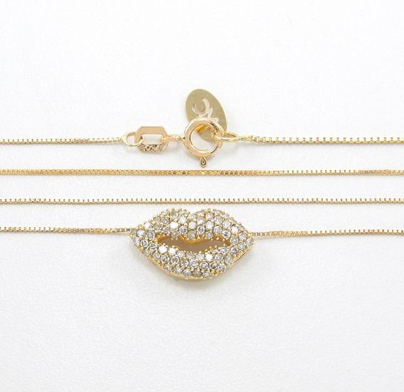 Corrente Colar Boca Beijo Pavê De Diamantes Em Ouro 18k 750
