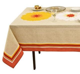 Mantel Para Mesa Rectangular Beige Flores Naranja Vianney