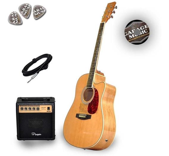 Guitarra Electro Acústica Con Corte Parquer Amplificador G10