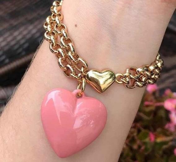 Pulseira Coração Rosa Banhado A Ouro 18k