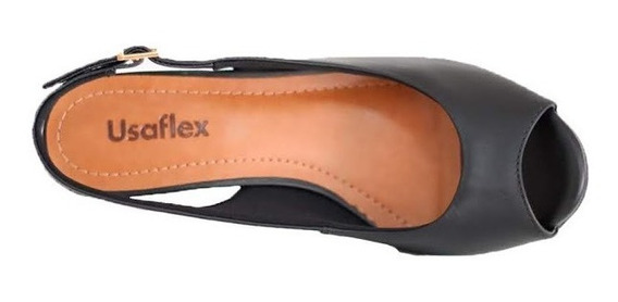 Sandália Anabela Confortável Usaflex Preta Lançamento 5205