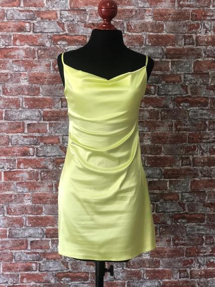 Vestido Satin Neon Lima Limon Calidad Premium